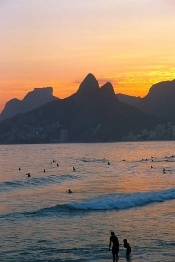 Brazil, Rio de Janeiro, Ipanema beach, people, sunset, : Stock Photo