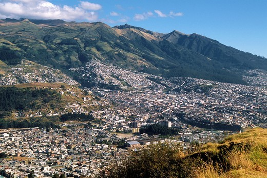 Ecuador, Quito, general panoramic view, Pichincha Volcano, : Stock Photo