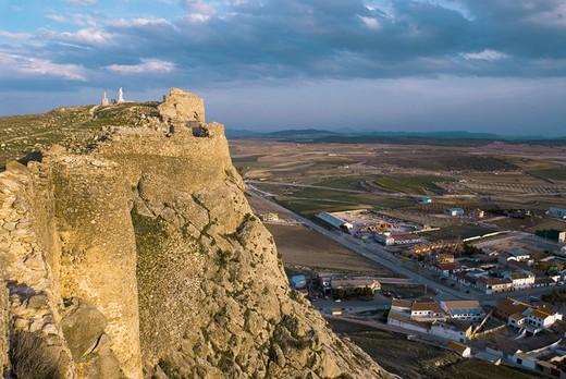 Stock Photo: 1566-696463 Castle of Peñas de San Pedro and village. Albacete. Castilla-La Mancha, Spain