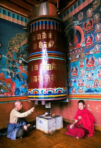 Stock Photo: 1566-696854 Prayer wheel  Thimphu  Bhutan  Butan.