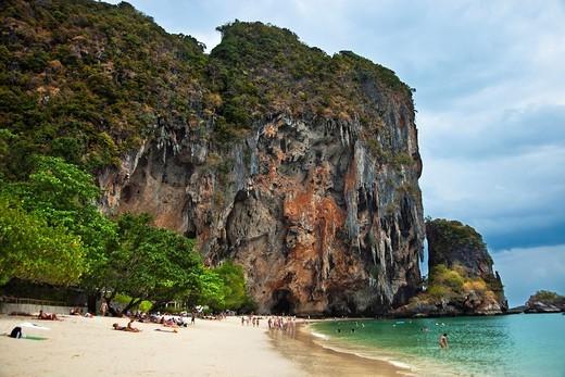 Stock Photo: 1566-697431 Railay bay  Rai Leh bay  Phra Nang beach cliffs and the Princess Cave , Krabi, Thailand