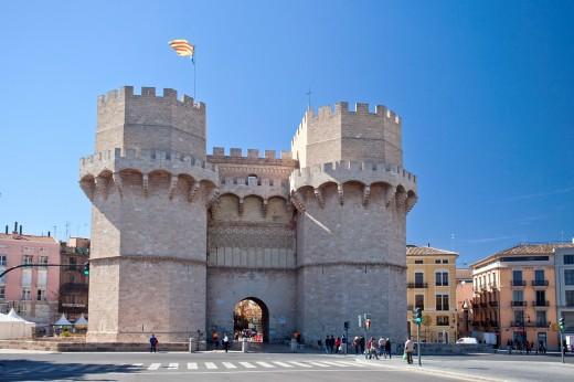 Spain-Valencia Comunity-Valencia City-Valencia Walls-Serrano Gate : Stock Photo