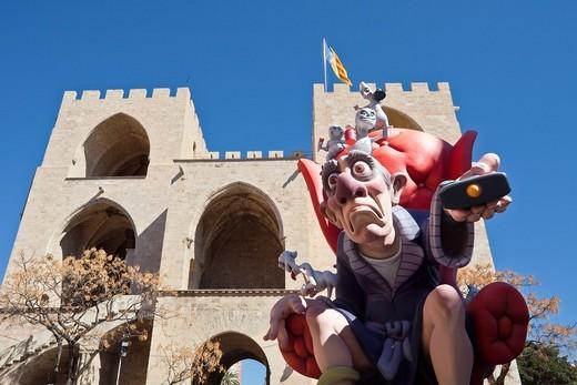 Spain-Valencia Comunity-Valencia City-Falla at Serranmo Gate : Stock Photo
