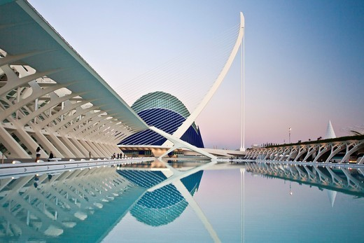 Spain-Valencia Comunity-Valencia City-The City of Arts and Science built by Calatrava-Assut del Or Bridge and the Agora Bldg : Stock Photo