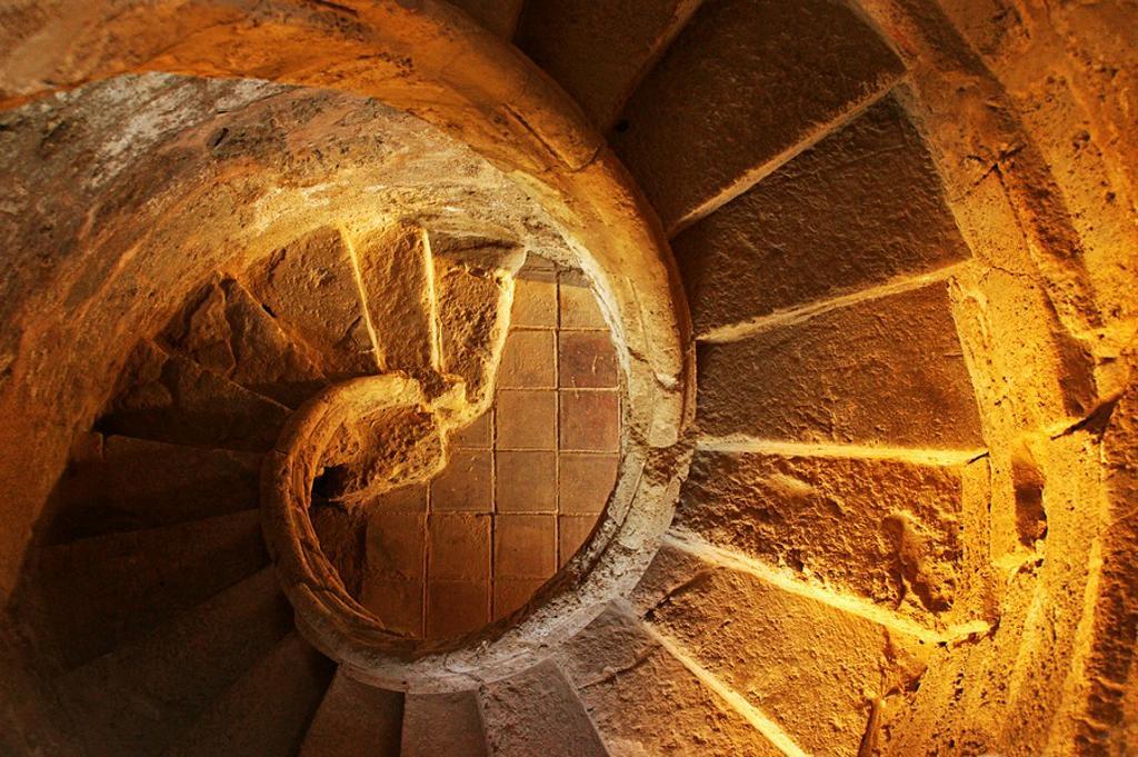 Spiral staircase, Carnicerías Reales former slaughterhouse and market, Priego de Cordoba, Cordoba province, Andalusia, Spain : Stock Photo
