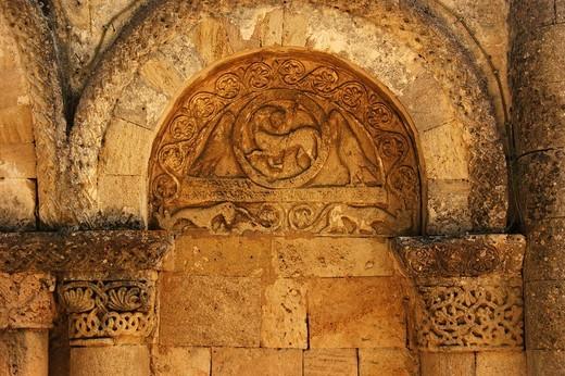 Stock Photo: 1566-699375 Agnus Dei (´Lamb of God´) symbol, Romanesque church on the Way of St James, Tauriac, Gironde, Aquitaine, France