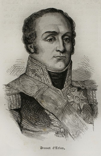 France-History-XIXc - Jean-Baptiste Drouet, comte d´Erlon July 29, 1765 – January 25, 1844 was a marshal of France and a soldier in Napoleon´s Army  D´Erlon notably commanded the I Corps of the Armée du Nord at the battle of Waterloo : Stock Photo