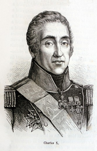 Stock Photo: 1566-699649 France-History-XIXc - Charles X 9 October 1757 – 6 November 1836 ruled as King of France and of Navarre from 16 September 1824 until 2 August 1830 1 A younger brother to Kings Louis XVI and Louis XVIII, he supported the latter in exile and eventually succ. France-History-XIXc - Charles X 9 October 1757 – 6 November 1836 ruled as King of France and of Navarre from 16 September 1824 until 2 August 1830 1 A younger brother to Kings Louis XVI and Louis XVIII, he supported the latter in exile and eve