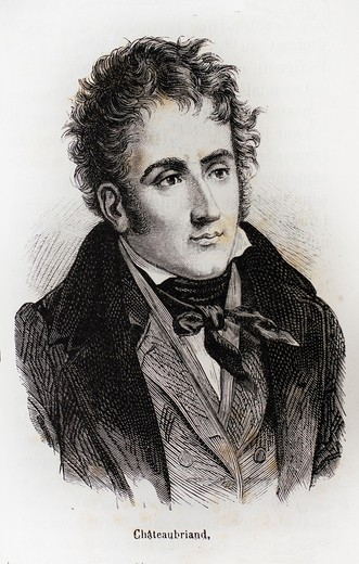Stock Photo: 1566-699656 France-History-XIXc - François-René, vicomte de Chateaubriand 4 September 1768 – 4 July 1848 was a French writer, politician and diplomat  He is considered the founder of Romanticism in French literature