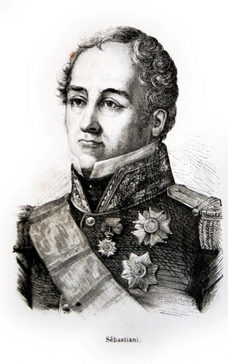 France-History-XIXc - Horace François Bastien Sébastiani de La Porta Corsican: Oraziu Francescu Bastianu Sebastiani De A Porta, 11 November 1771 – 20 July 1851 was a French soldier, diplomat, and politician, who served as Naval Minister, Minister of Forei. France-History-XIXc - Horace François Bastien Sébastiani de La Porta Corsican: Oraziu Francescu Bastianu Sebastiani De A Porta, 11 November 1771 – 20 July 1851 was a French soldier, diplomat, and politician, who served as Naval Minister, Minis : Stock Photo