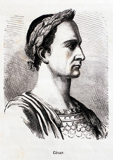 France-History- César-Gaius Julius Caesar2 13 July 100 BC3 – 15 March 44 BC4 was a Roman general and statesman  He played a critical role in the gradual transformation of the Roman Republic into the Roman Empire : Stock Photo