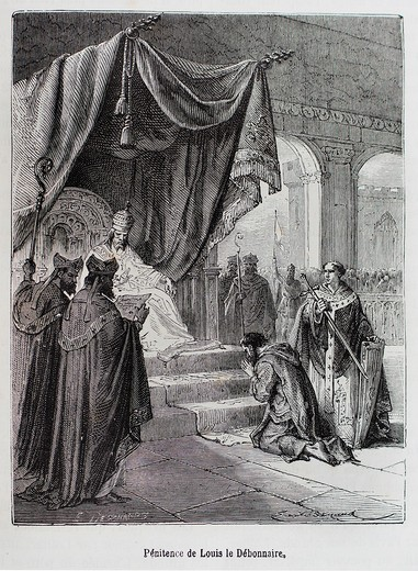 France-History- ´ Pénitence de Louis le Débonnaire ´-Louis the Pious 778 – 20 June 840, also called the Fair, and the Debonaire,1 was the King of Aquitaine from 781  He was also King of the Franks and co-Emperor as Louis I with his father, Charlemagne, fr. France-History- ´ Pénitence de Louis le Débonnaire ´-Louis the Pious 778 – 20 June 840, also called the Fair, and the Debonaire,1 was the King of Aquitaine from 781  He was also King of the Franks and co-Emperor as Louis I with his father, Cha : Stock Photo