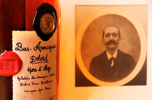 France-Midi Pyrennées- Gers- the founder of the ´Delord Armagnac´ Estate, at the end of the XIXc , still making Armagnac of Excellence at Lannepax : Stock Photo