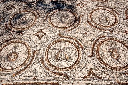 Stock Photo: 1566-700371 Necropolis mosaic of Tyre Sour, UNESCO World Heritage Site  Lebanon