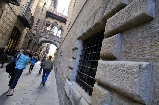 Stock Photo: 1566-701109 Obispo Irurita street(Carrer del bisbe). Gothic quarter. Barcelona. Catalonia. Spain.