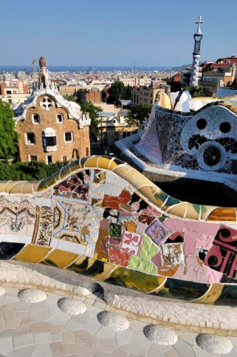 Stock Photo: 1566-701403 Park Güell. Garden complex with architectural elements situated on the hill of el Carmel. Designed by the Catalan architect Antoni Gaudí and built in the years 1900 to 1914. UNESCO World Heritage. Gràcia district of Barcelona. Catalonia, Spain