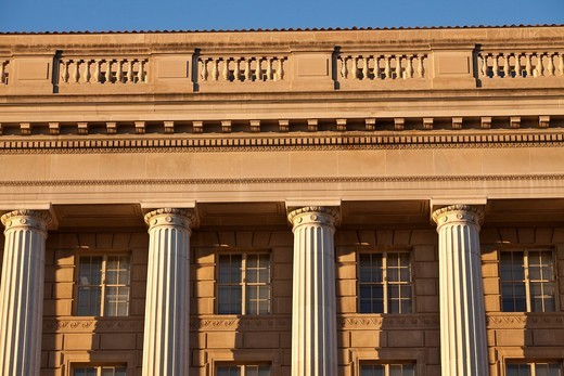 Late afternoon light on the neo classical facade of the EPA building : Stock Photo