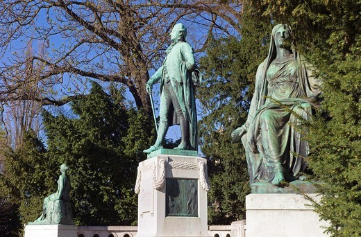 Stock Photo: 1566-702340 Johann Wolfgang von Goethe Statue by Ernst Waegener 1904, Strasbourg, Alsace, France
