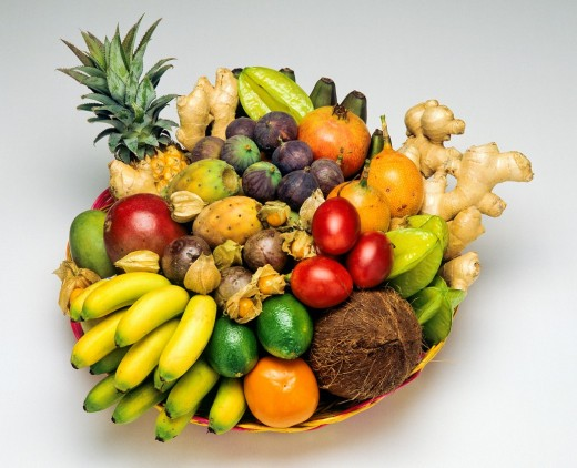 Stock Photo: 1566-702398 Tropical fruits assortment