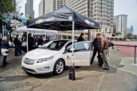 Stock Photo: 1566-702575 A Chevrolet Volt hybrid gas/electric car is on exhibit in Embarcadero Center in downtown San Francisco  It is the most fuel-efficient car with an internal combustion engine sold in the United States and can travel 25 to 50 miles on a lithium-ion battery w. A Chevrolet Volt hybrid gas/electric car is on exhibit in Embarcadero Center in downtown San Francisco  It is the most fuel-efficient car with an internal combustion engine sold in the United States and can travel 25 to 50 miles on a lithium-i