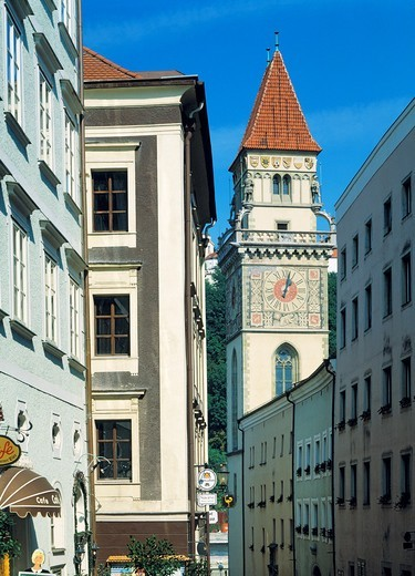 Germany, Passau, Danube, Inn, Ilz, Bavarian Forest, Lower Bavaria, Bavaria, old town, residential buildings, old city hall, city hall tower, bell tower : Stock Photo