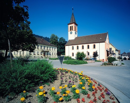 Germany, Sulzburg, Sulzbach, Margravian Country, Upper Rhine, Black Forest, Baden-Wuerttemberg, market place, city hall, former municipal church, today Mining State Museum Baden-Wuerttemberg, flowerbed : Stock Photo