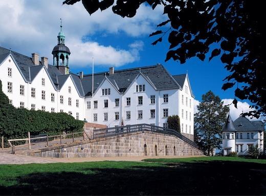 Germany, Ploen, nature reserve Holsteinische Schweiz, Schleswig-Holstein, castle Ploen, renaissance, baroque, ramp, access ramp : Stock Photo