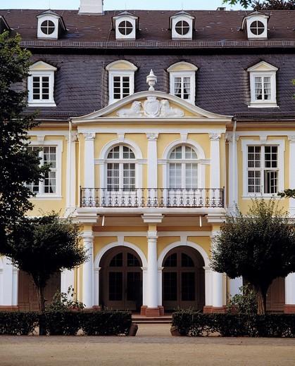 Stock Photo: 1566-703340 Germany. Hanau, Main, Kinzig, Kinzig valley, Rhine Main Area, Hesse, D-Hanau-Kesselstadt, Wilhelmsbad, health spa, former kurhaus, casino, arcade building, today dolls museum, Late baroque, rococo