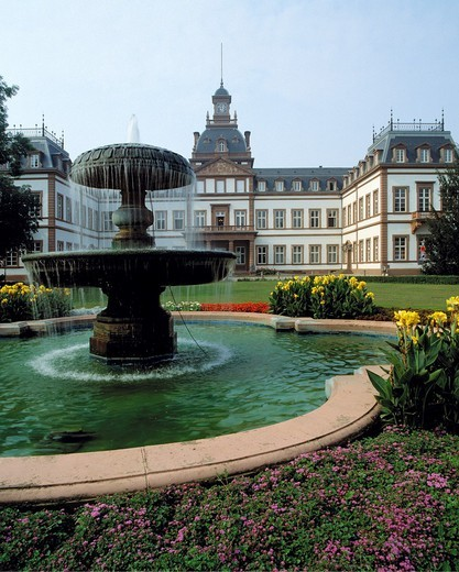 Germany. Hanau, Main, Kinzig, Kinzig valley, Rhine Main Area, Hesse, D-Hanau-Kesselstadt, castle Philippsruhe, founder period, renaissance, historical museum, castle gardens, baroque garden, English landscape park, well, spring, flowerbeds : Stock Photo