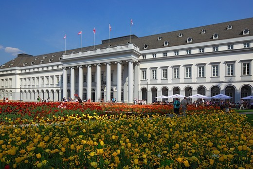 Stock Photo: 1566-703385 Germany. Koblenz. Germany. Koblenz, Rhine, Moselle, Maifeld, Eifel, Hunsrueck, Westerwald, Rhineland-Palatinate, electoral palace, residential castle, French Early classicism, Bundesgartenschau 2011, BUGA 2011, castle park, flower beds, tulips, springtime, people, tourists, UNESCO World Heritage Site Oberes Mittelrheintal, Upper Middle Rhine