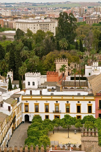 Stock Photo: 1566-703565 Reales Alcazares and Alcazar gardens seen from the Giralda tower Sevilla Andalusia Spain
