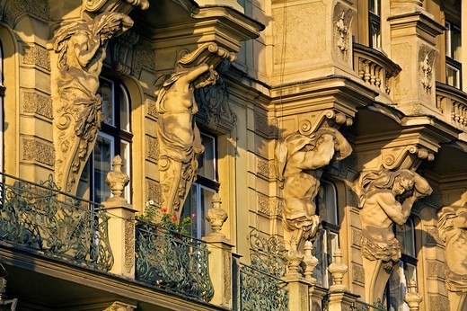 Art nouveau facades masarykovo nabrezi street , Prague, Czech Republic : Stock Photo