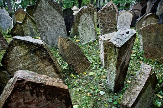 Stock Photo: 1566-704286 Crowded tombstones old jewish cemetery josefov jewish quarter, Prague, Czech Republic
