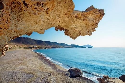 Playa del Arco, Los Escullos  Natural Reserve of Cabo de Gata-Níjar  Almería province  Andalusia  Spain : Stock Photo