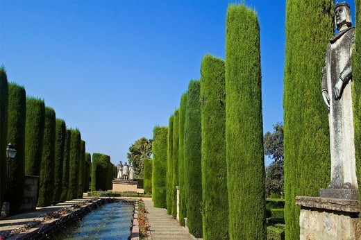 The gardens of the Alcazar of Catholic Kings in Cordoba  Andalusia, Spain : Stock Photo