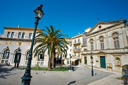 Stock Photo: 1566-704557 The City Hall and Saint Jacob, the Roman Catholic cathedral in Dimarchiou square, Kerkyra town, Corfu, Greece