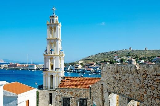 Chalki town, Halki, Dodecanese, Greek Islands, Greece, Europe : Stock Photo