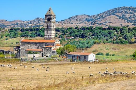 Basilica of the Holy Trinity of Saccargia, Sassari province, Sardinia, Italy : Stock Photo