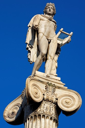Stock Photo: 1566-705061 Statue of Apollo on the Academy building  Athens  Greece
