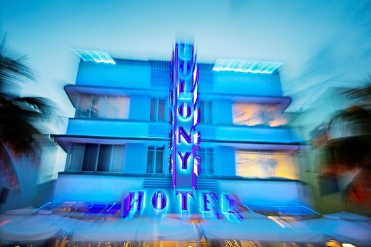 Colony Hotel, Ocean Drive, South Beach, Art deco district, Miami beach, Florida, USA : Stock Photo