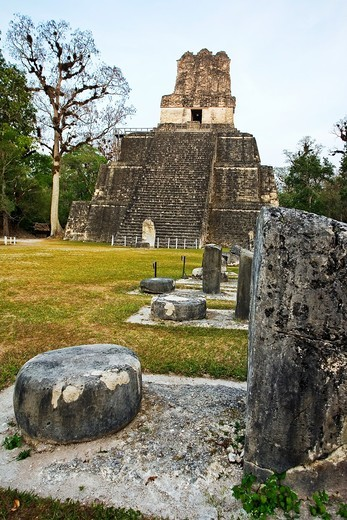 Temple II  Mayan ruins of Tikal  Peten region, Guatemala : Stock Photo
