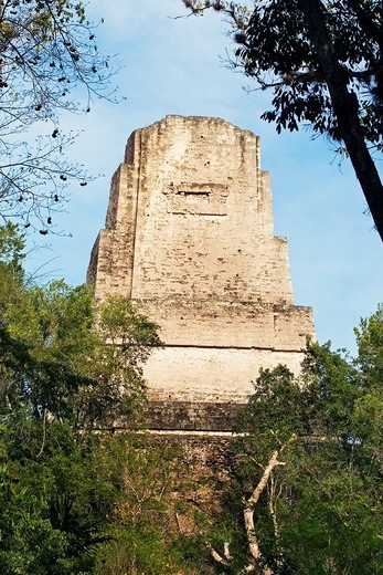 Stock Photo: 1566-705692 Great Plaza and Temple of the Giant Jaguar Temple I  Mayan ruins of Tikal  Guatemala