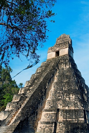 Great Plaza and Temple of the Giant Jaguar Temple I  Mayan ruins of Tikal  Guatemala : Stock Photo