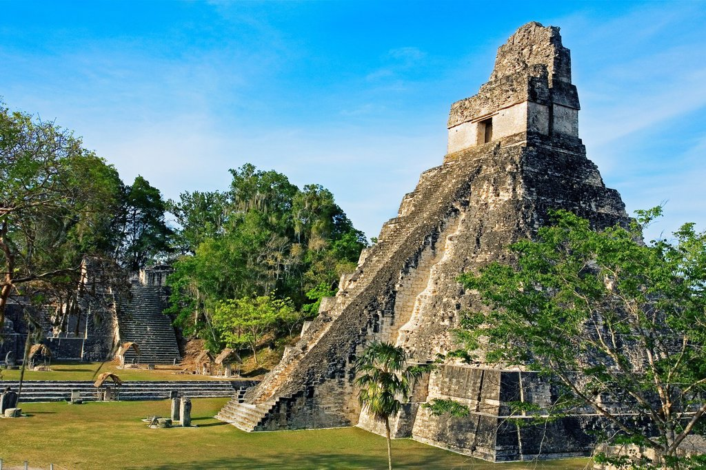 Stock Photo: 1566-705695 Great Plaza and Temple of the Giant Jaguar Temple I  Mayan ruins of Tikal  Guatemala