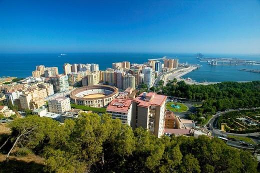 Bullring and port, Málaga  Costa del Sol, Andalusia, Spain : Stock Photo