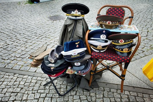Street stall selling cold war and russian artifacts  Checkpoint Charlie  Berlin  Germany : Stock Photo