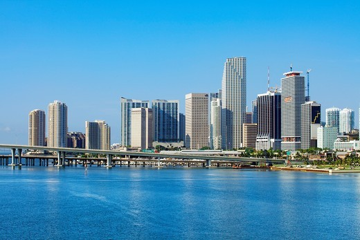 Downtown skyline, Miami, Florida, USA : Stock Photo