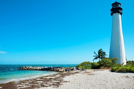 Cape Florida Lighthouse, Key Biscayne, Miami, Florida  USA : Stock Photo