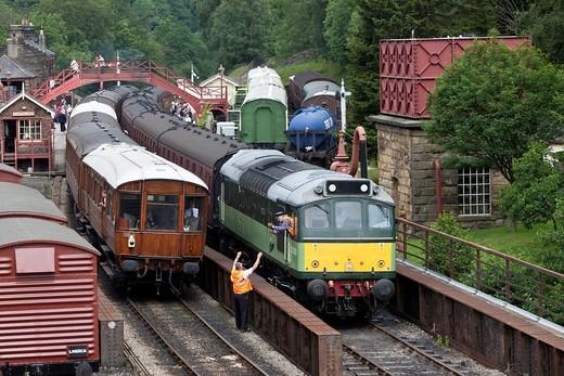 D7628 Bo-B0 Class 25 diesel locomative at Goathland Station, North Yorkshire Moors Railway : Stock Photo