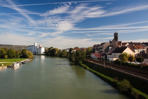France, Marne, Champagne Region, Dormans, riverfront town view : Stock Photo